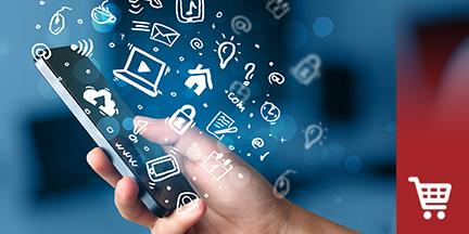 Hand hält Smartphone um das diverse Webicons schwirren