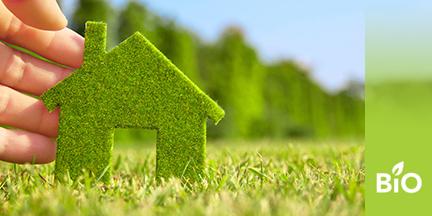 Silouette eines Hauses aus grünem Filz wird von Hand auf Wiese gestellt