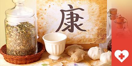 Kräuter in Glas, Ingwer, Knoblauch und Asiatisches Schriftzeichen